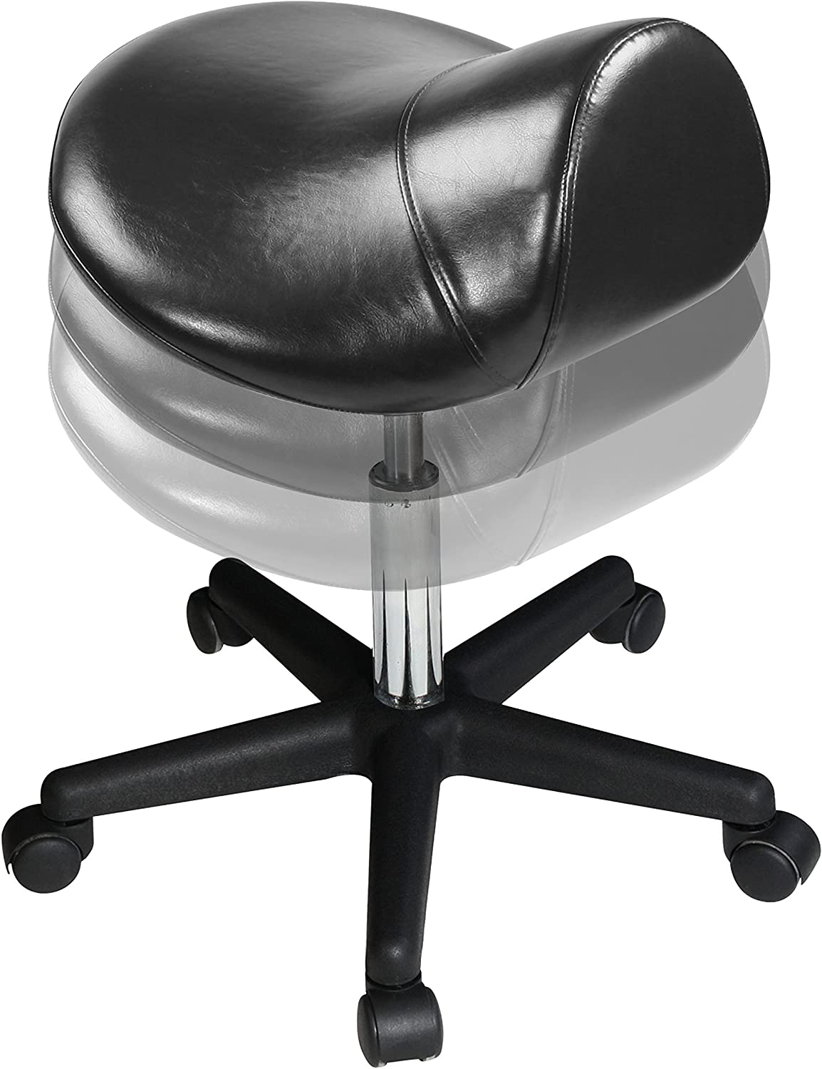 Master Massage Ergonomic Swivel Saddle Rolling Hydraulic Stool in Black for Clinic,spas,Salons,Home,Office: Health & Personal Care