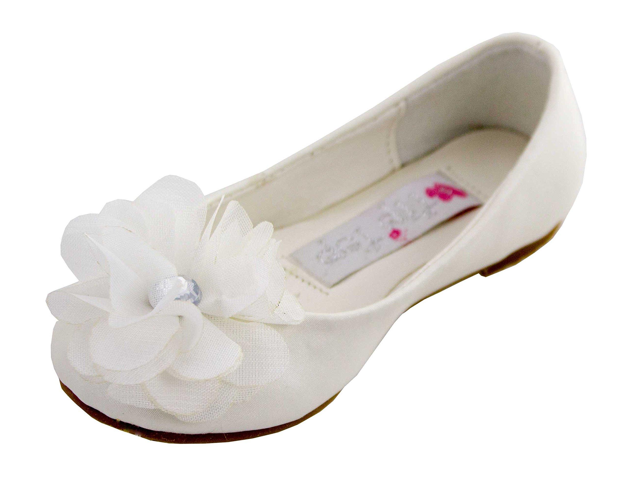 Cinderella Shimmer Flats (Childrens 11, Ivory)