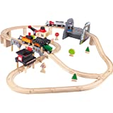 Hape Kids Wooden Railway Working on the Railroad Set