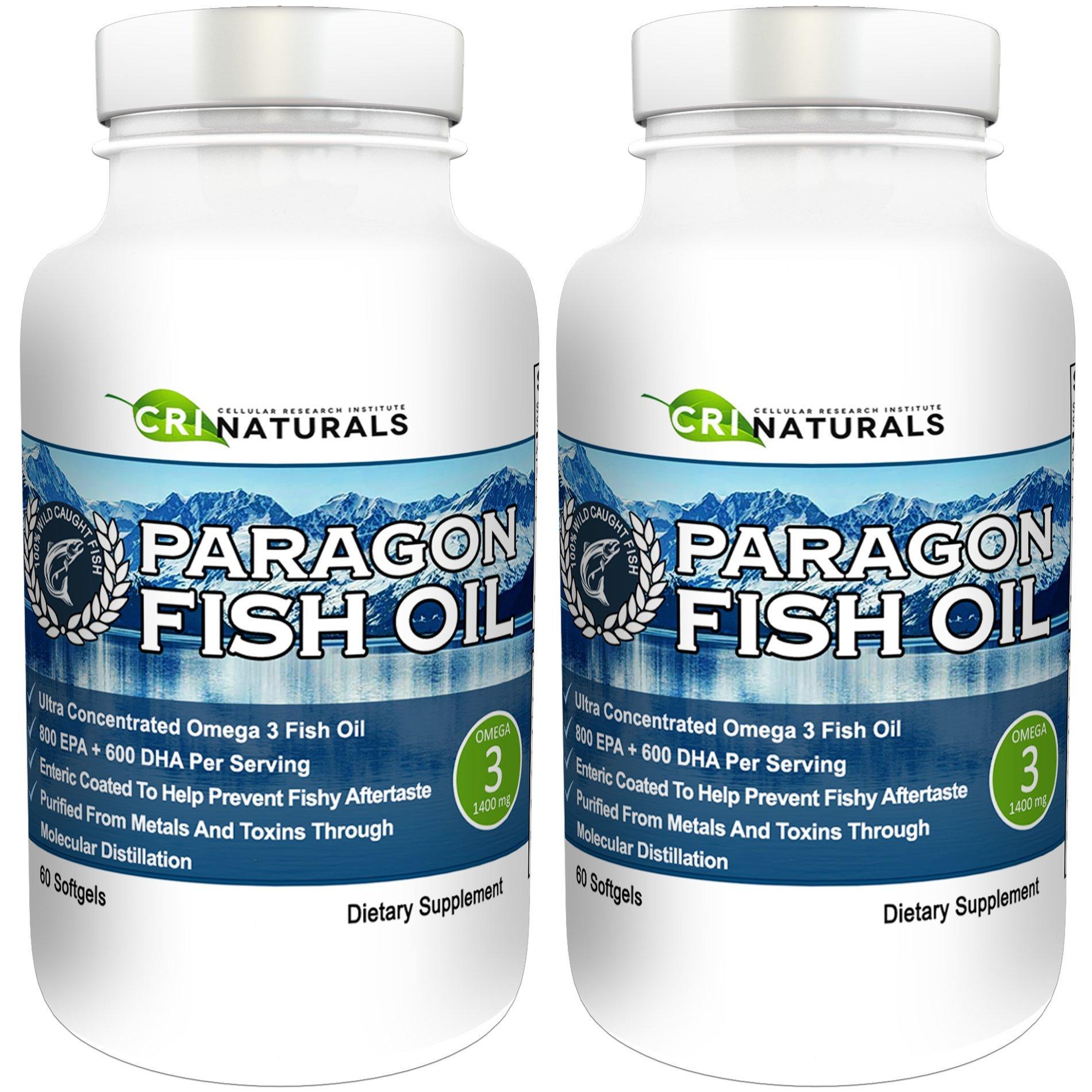 Paragon Fish Oil - Purest - Triple Strength - Omega 3 Fish Oil - Burpless - Highest - EPA + DHA (2 Pack)