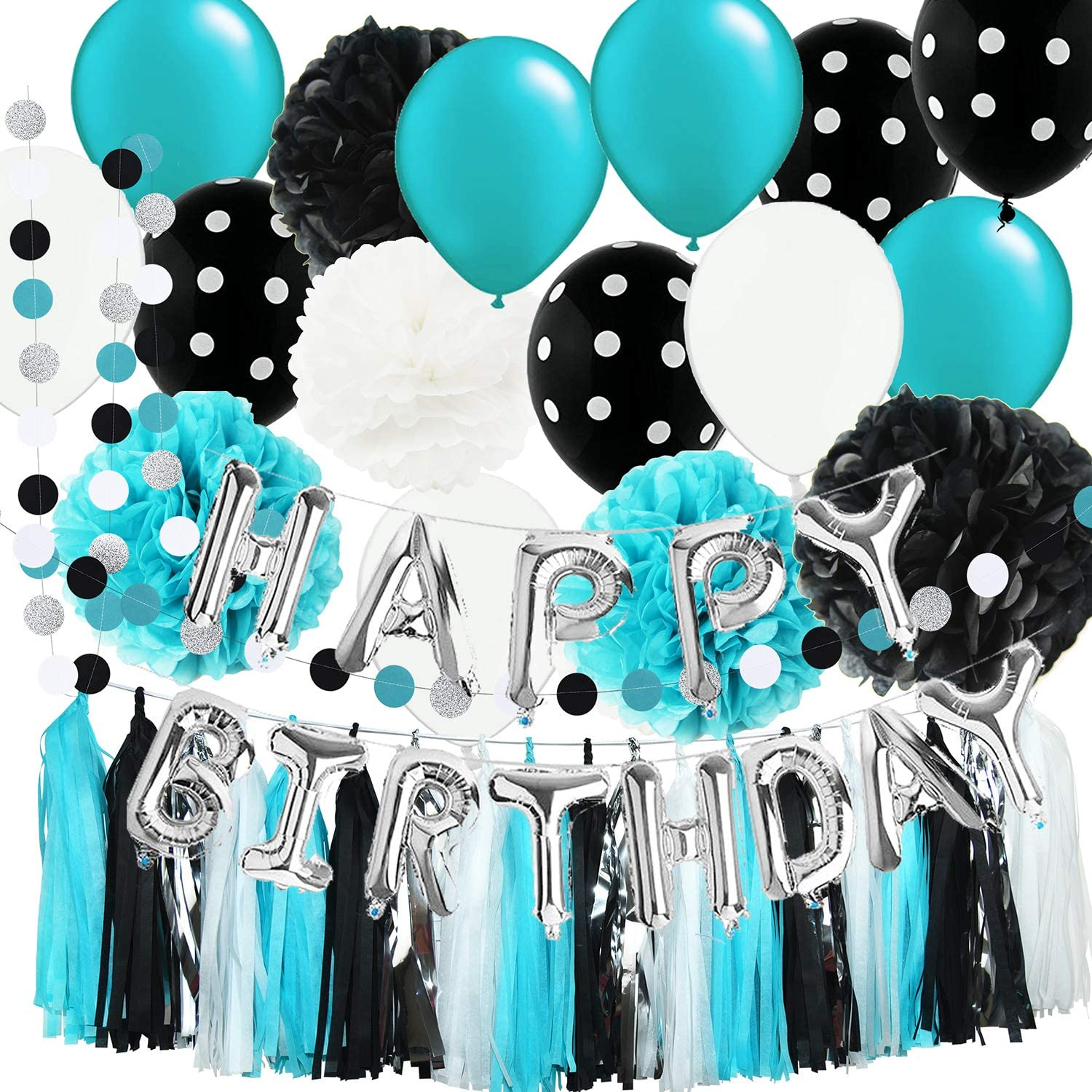 Robin's Egg Blue Birthday Party Decorations White Black Silver Party Decorations Black Polka Dot Balloons Turquoise Sweet 16 Birthday Party Decorations