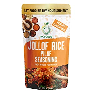 Iya Foods Jollof Rice Seasoning 5 oz Bag. Made with Herbs, Peppers & Honey. Free from MSG or Anything Artificial. The Perfect Seasoning for Rice. Tasty, Slightly Smoky Jollof Rice in Minutes