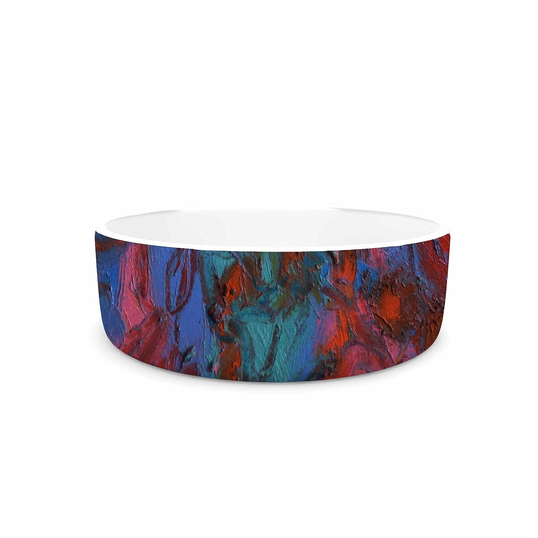 KESS InHouse Jeff Ferst Koi Pond Red Teal Painting Pet Bowl, 7  Diameter