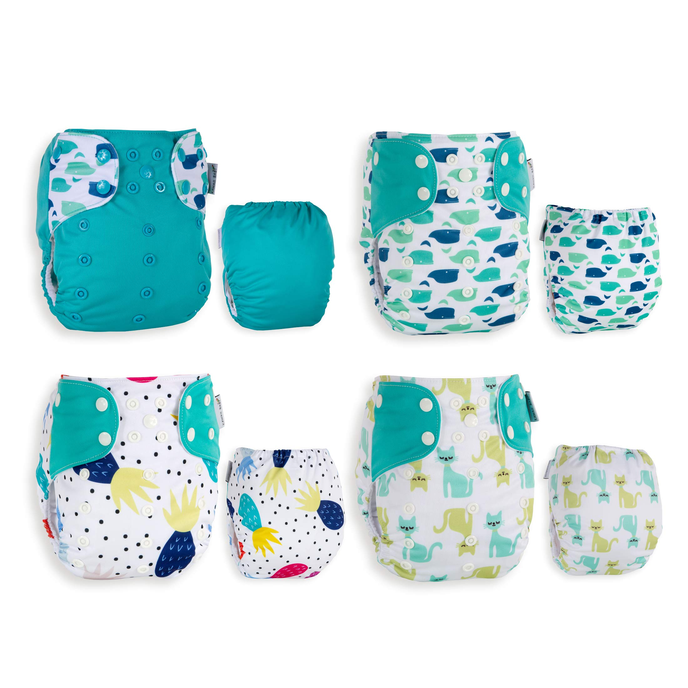 Best Seller! KaWaii Baby 20 One Size Printed Snap Cloth Diaper Shells/Spring Sunshine Theme/Reusable/Newborn to Toddler by Kawaii Baby (Image #4)