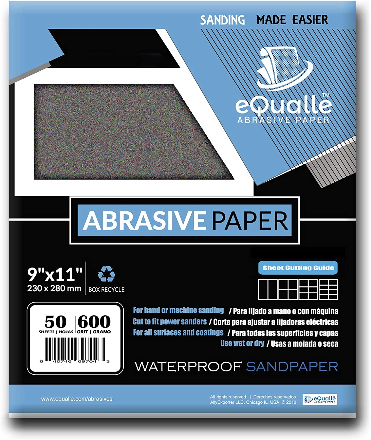 VSM 372 Abrasives Waterproof Sheet Pack of 50 9 x 11 Silicon Carbide 220 Grit 9 x 11 VSM Abrasives Co. C Weight Paper