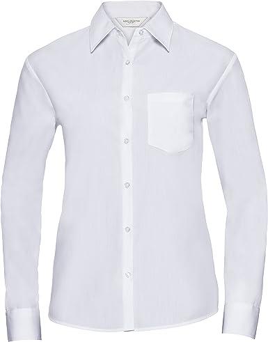 Russell Collection- Camisa de Manga Larga de popelín y poliéster/algodón de fácil Cuidado para Mujer