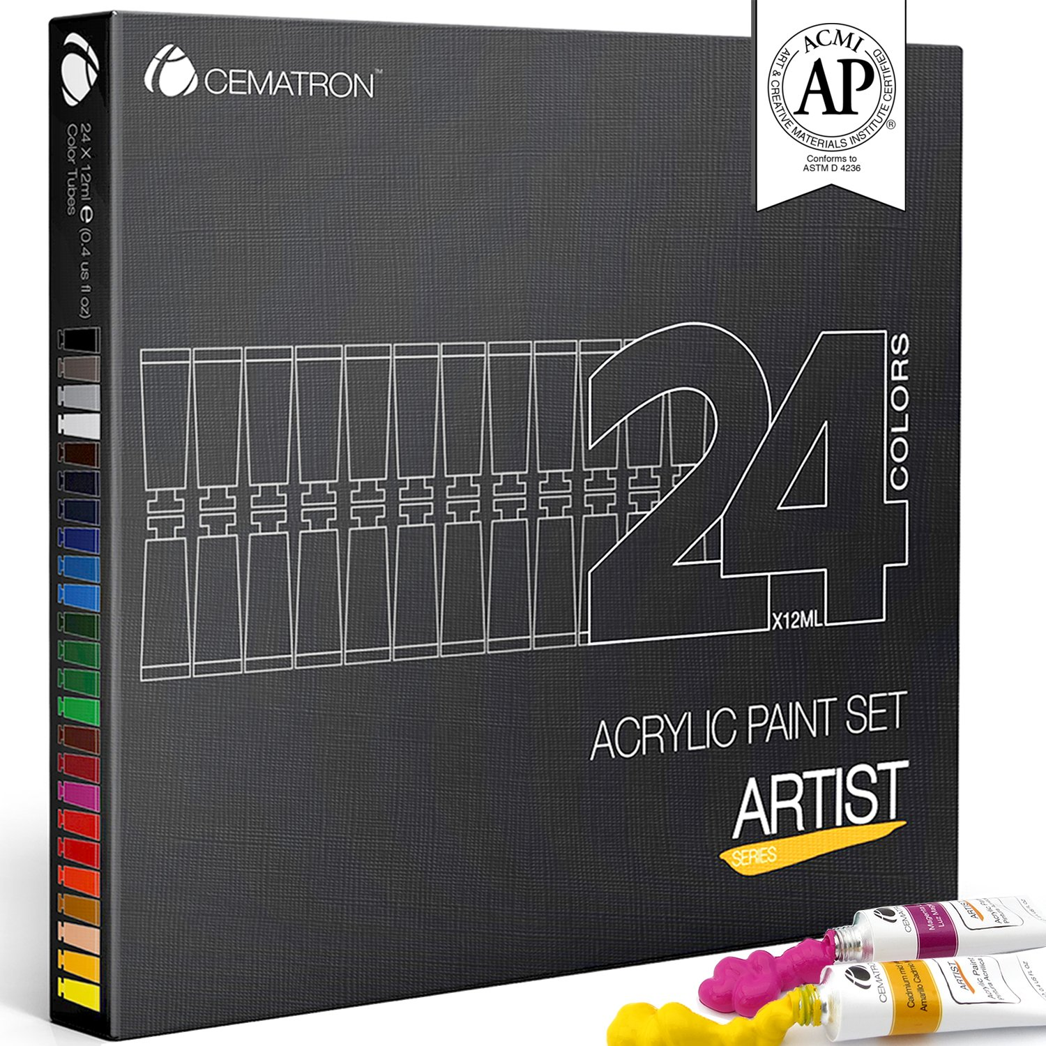 Cematron Acrylic Paint Set 24 Colors, Non Toxic Craft Paint Kit for Canvas Wood Fabric Nails and Rock Painting, Best for Professional Artists, Students or Hobbyist (Artist Grade)