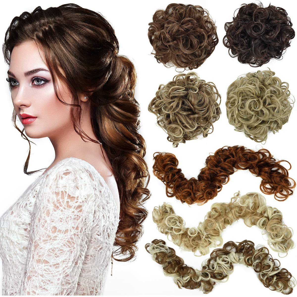 EMERLY Messy Bun Hair Piece Thick Scrunchy DIY Wrap Around Touseld Updo Hair Extensions Ponytail Curly Hair Pieces for Women