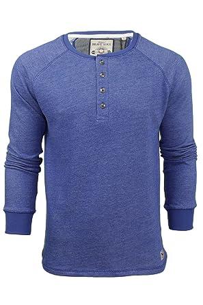 9e623a319e2400 Herren langärmliges Top T-Shirt von Brave Soul ´Corey´- Großvater Kragen
