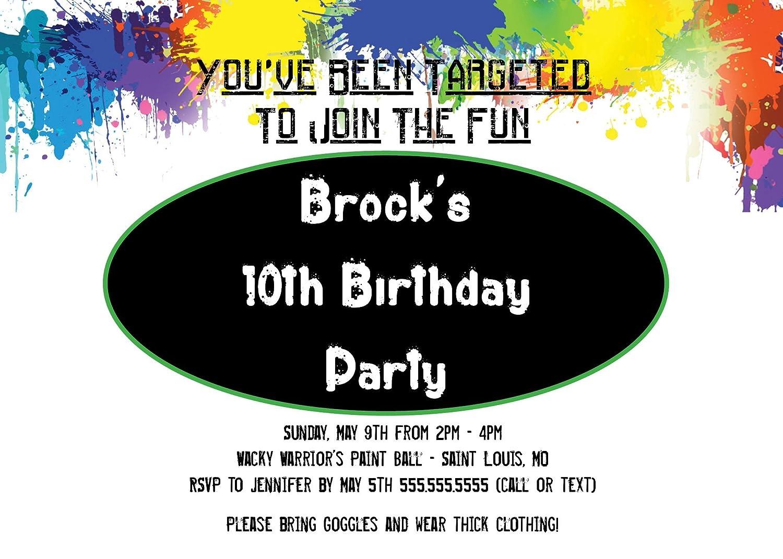 Amazon.com: Customized - Paintball Birthday Party Invitation: Toys ...