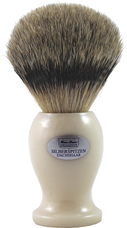 Hans Baier Exclusive Brocha de Afeitar (pelo de tejón punta de plata–Mango de plástico, cremeweiss 53221