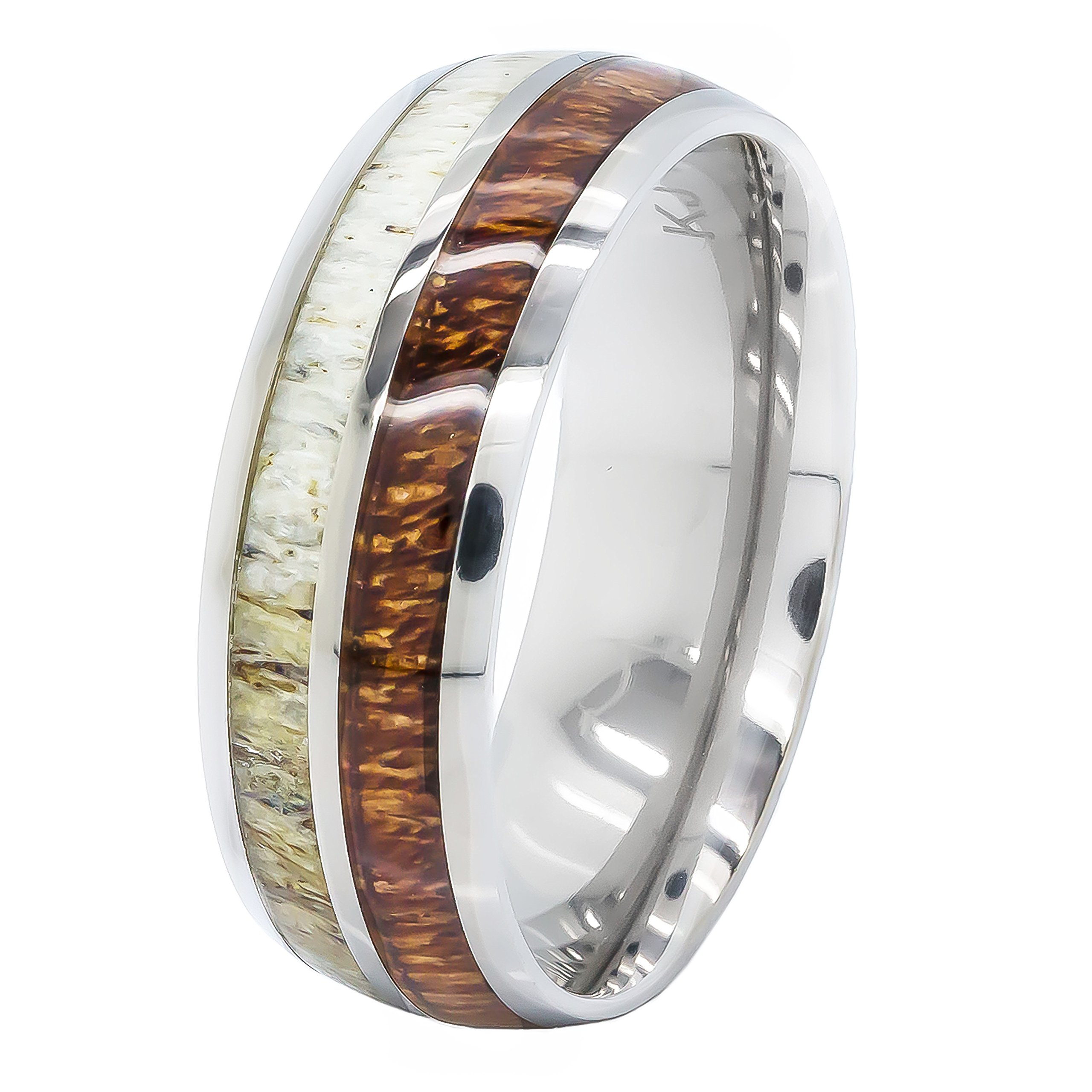 Natural Deer Antler Ring with Koa Wood Inlay - Mens Band, Womens Wedding Ring Titanium Hunter Ring Band