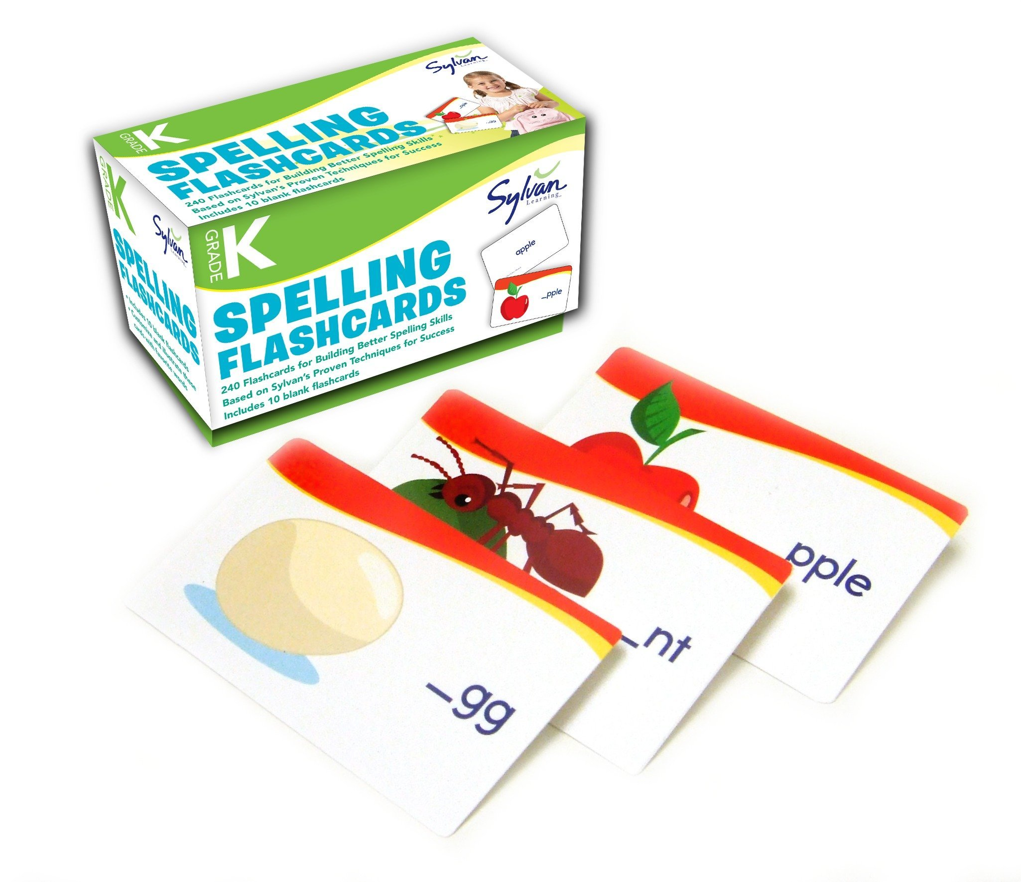Kindergarten Spelling Flashcards: 240 Flashcards for Building Better Spelling Skills Based on Sylvan's Proven Techniques for Success (Sylvan Language Arts Flashcards) by Sylvan Learning Publishing