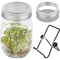 Juego de tarros de germinación de semillas con tapas y soportes de acero inoxidable 304 100% libre de óxido, crece tus…