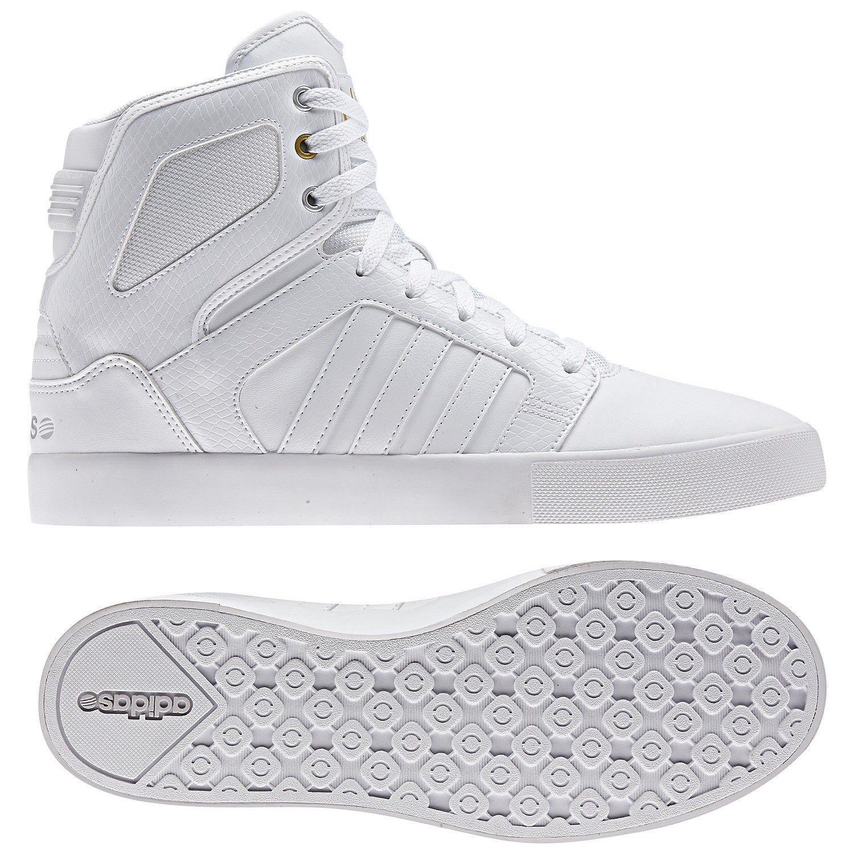 e90da1b105e8 Galleon - Adidas Neo BBNEO Hi-Top Ortholite Q38754 White Gold Leather  Whiteout Men s Shoes (Size 8)