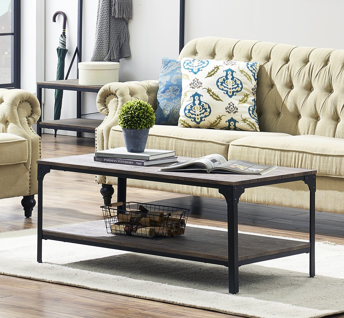 O&K Furniture Rustic Rectangular Coffee Table with Open Bottom Shelf, Industrial Cocktail Table for Living Room, Gray-Brown