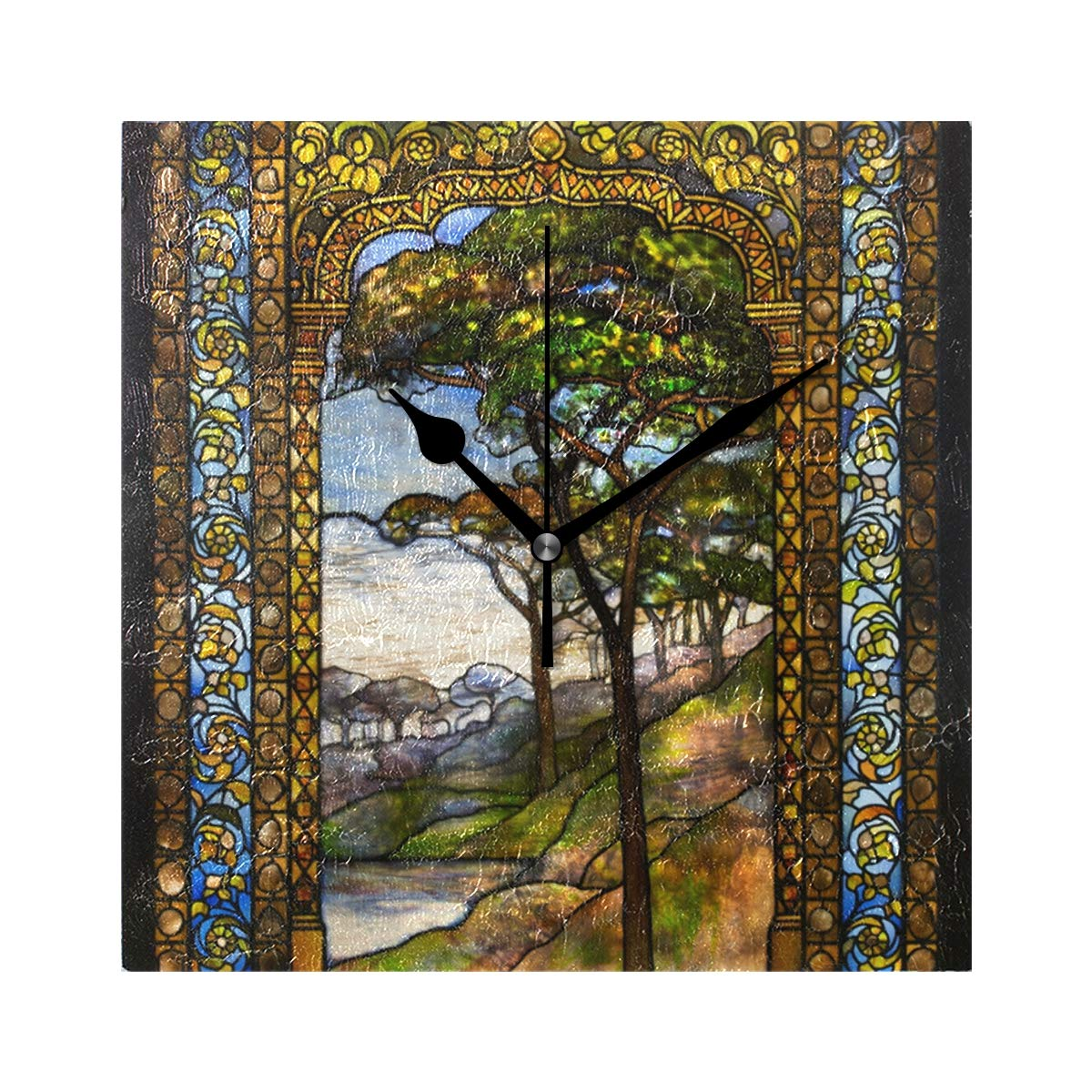 Amazon.com: LORVIES Stained Glass Windows Wall Clock Silent Non Ticking Acrylic 8 Inch Square Decorative Clock for Home/Office / Kitchen/Bedroom / Living ...