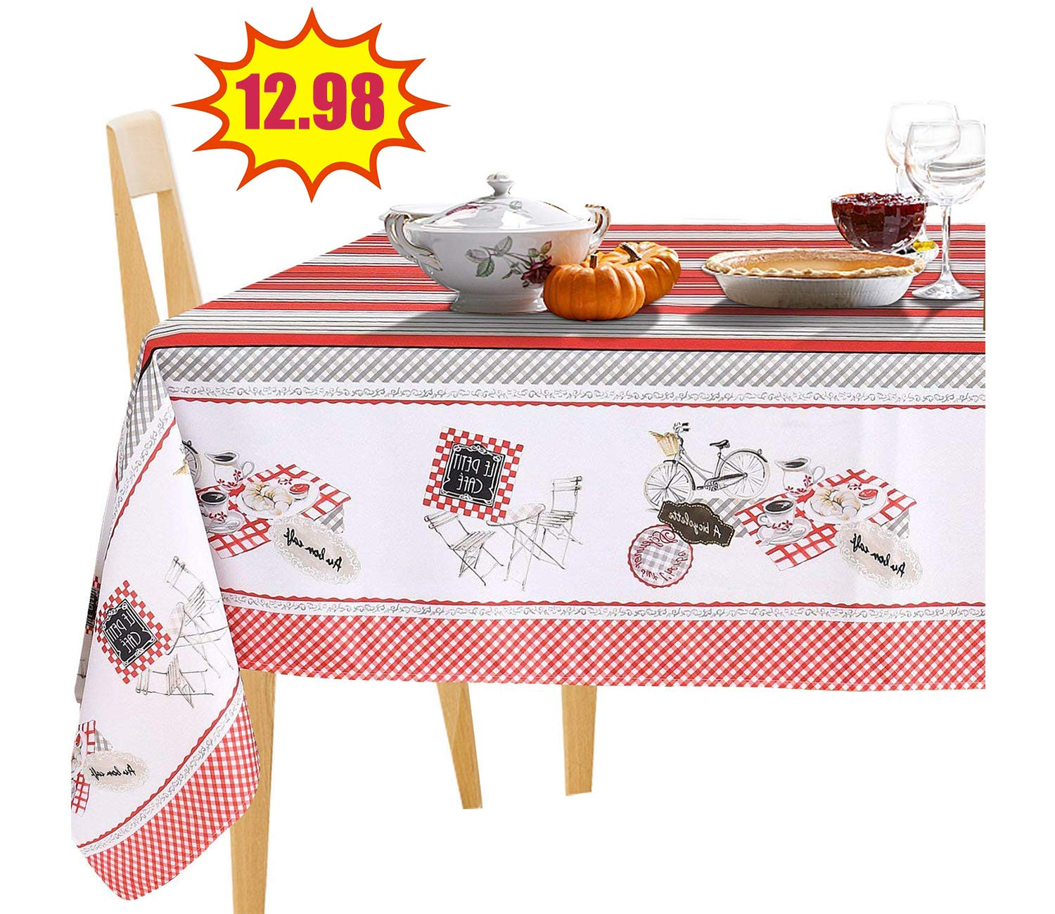 60 x 84, Red Stripes JIATER Stripes Design Table Cloth Spillproof Polyester Fabric Rectangle Tablecloths JIATER HOUSEHOLD