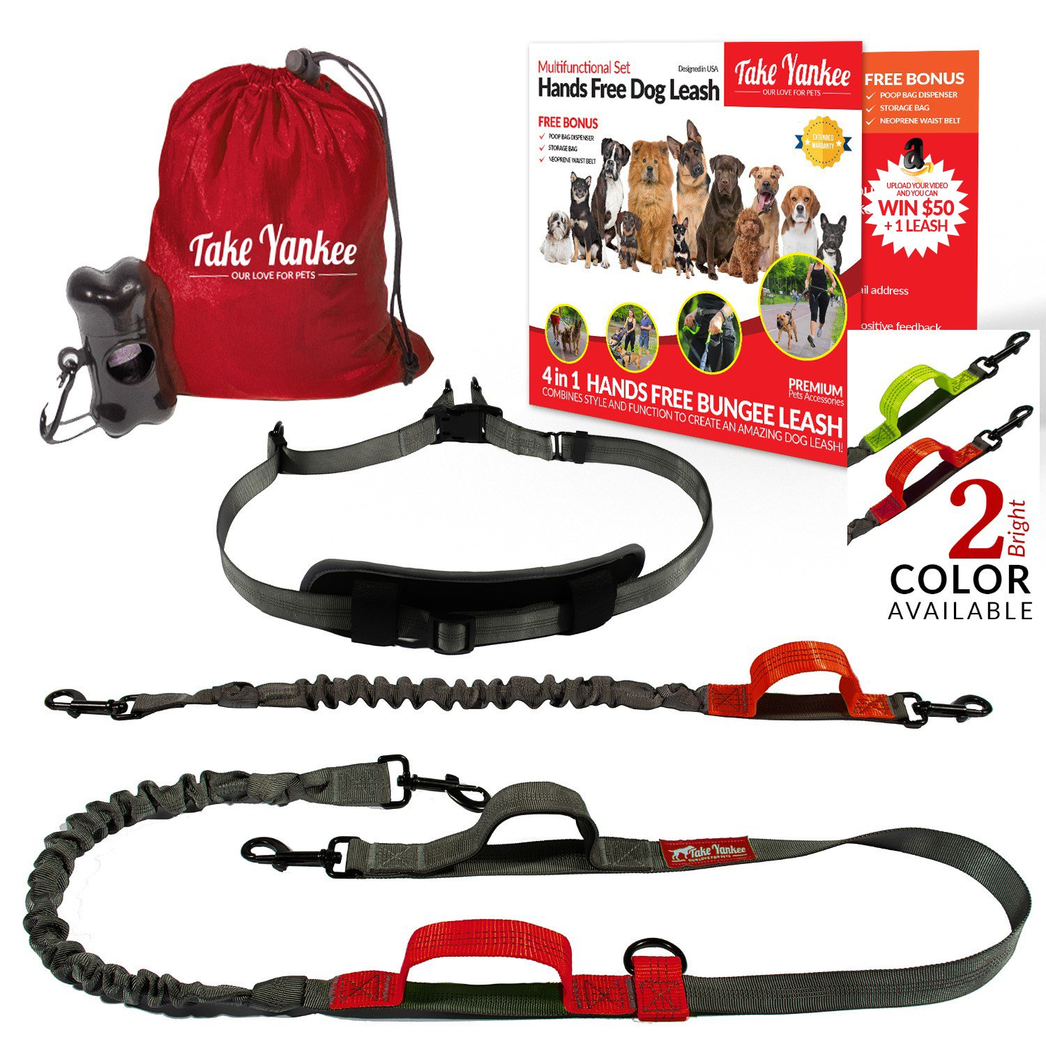 TAKE YANKEE Hands Free Bungee Leash + Dual Dog Leash Coupler Kit Multifunctional + Retractable Traffic Jogging Hiking Leash & Reflective Pet Leash Adjustable Body System + Padded Handles