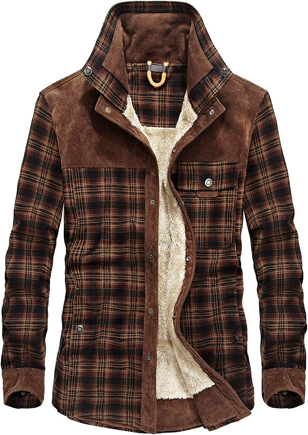 Mr.Stream Men's Outdoor Casual Vintage Long Sleeve Plaid Flannel Button Down Shirt Jacket
