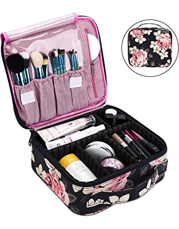 fc294dc301 Makeup Bag Travel Cosmetic Bag for Women Nylon Cute Makeup Case Large  Professional Cosmetic Train Case