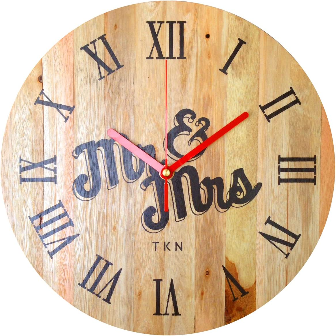 TKN Products - Indoor Handmade Wall Clock Wood pallets 12 inch Mrmrs Roman Numeral for Living, Kitchen, Laundry Room