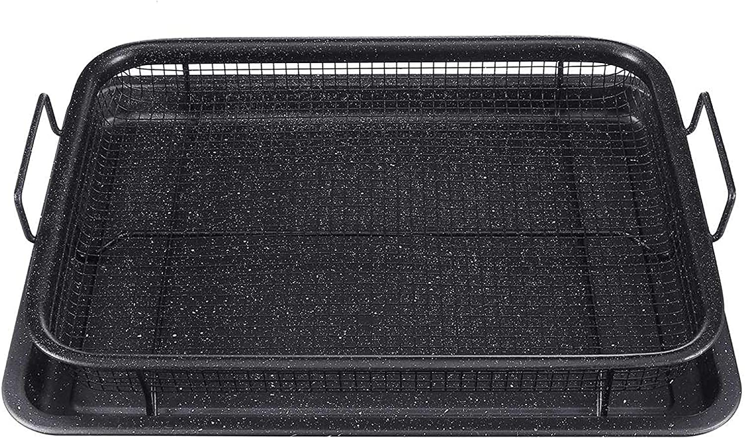 air Fryer Basket 2-2-Pieces Nonstick Oven Air Fryer Pan/Tray & Mesh Basket Set - Air Fryer in Oven - Ideal for French Fry - Frozen Food
