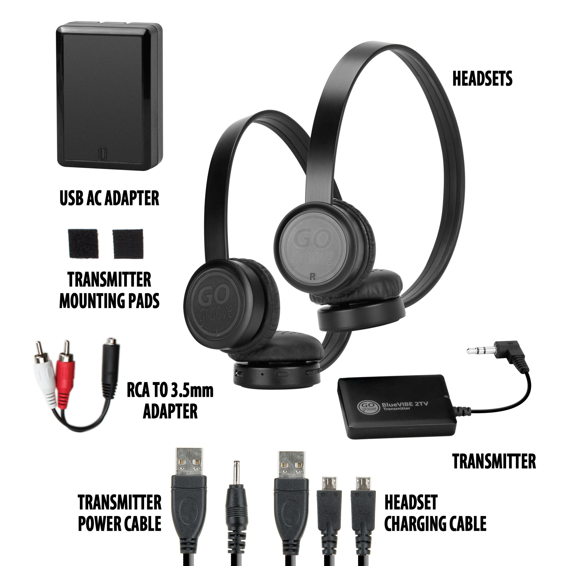 GOgroove BlueVIBE 2 TV Wireless 2 Pair Headphones Television Connection Kit with Plush Lightweight Ear Cups , Bluetooth Transmitter and Easy Setup - Great for Tablet Sharing by Apple, Samsung and More by GOgroove (Image #7)