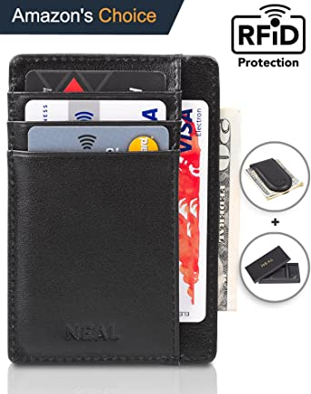 Review NEAL Front Pocket Slim Wallet RFID Blocking, Top Grain Leather Set with Gift Box