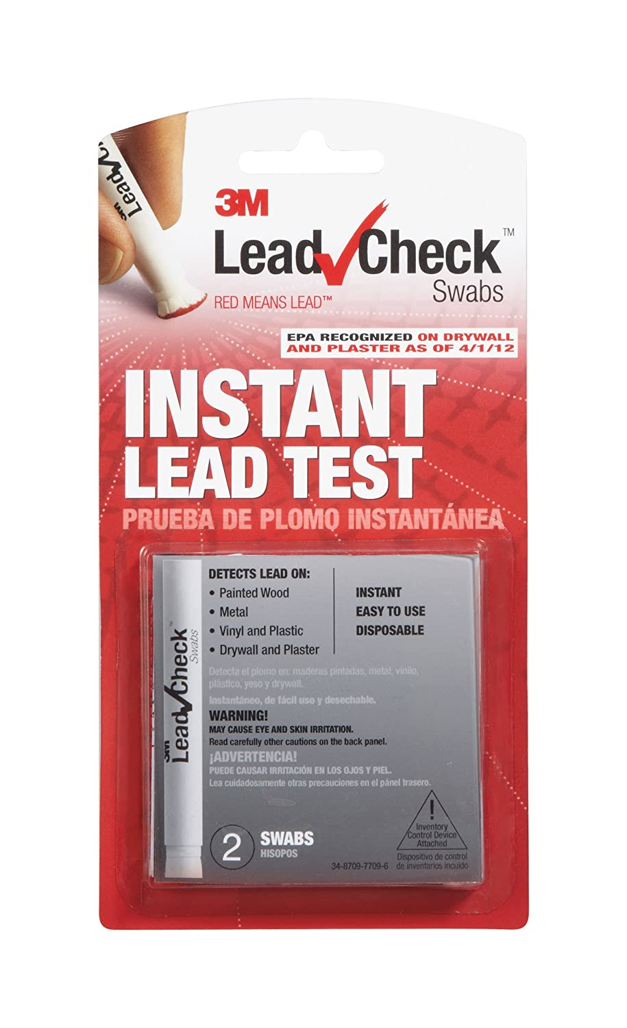 LeadCheck LC-2SDC Disposable Non-Staining Lead Detection Swabs, 2 Per Pack