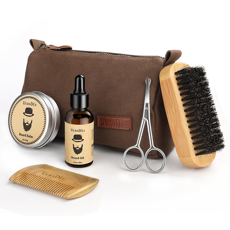 Beard Trimming Kit, 6 Mustache Care Set for Men Care | Beard Oil | Mustache Beard Balm Wax | Beard Brush | Beard Comb | Barber Scissors | Friendly Box Best Set for Mens Beard for Styling Growth Set Ucradle