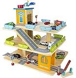 Große Parkgarage Parkhaus Auto Garage aus Holz mit Zubehör, Holz-Spielgarage mit einem Lift, Autos 9 Sportwagen Holzgarage mit 9 Metallautos