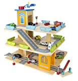 Wooden 3 level garage with elevator, cars and a helicopter landing pad