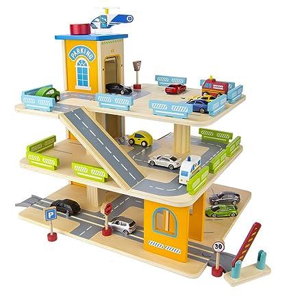 Avec En BoisParking À Niveaux VoituresVéhicule Miniature 3 Et Garage Ascenseur iTkZOPXu