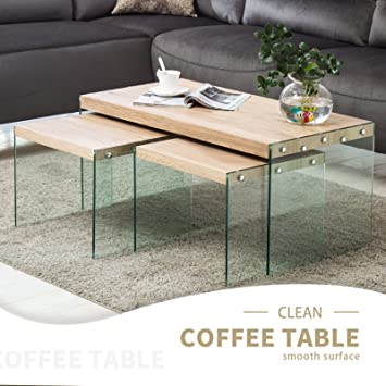 Amazon.com: mecor 3 piezas Mesas rodar de acento de café de ...
