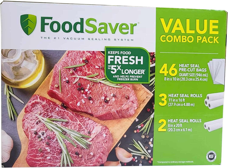 Food Saver Vacuum Seal Rolls and Vacuum Sealer Bags, Value Combo Rolls & Precut Bags, 46pcs (8 in x 10 in) Heat Seal Pre-Cut Bag, 3pcs (11 in x 16ft) Heat Seal Rolls, 2pcs (8 in x 20ft) Heat Seal Rolls