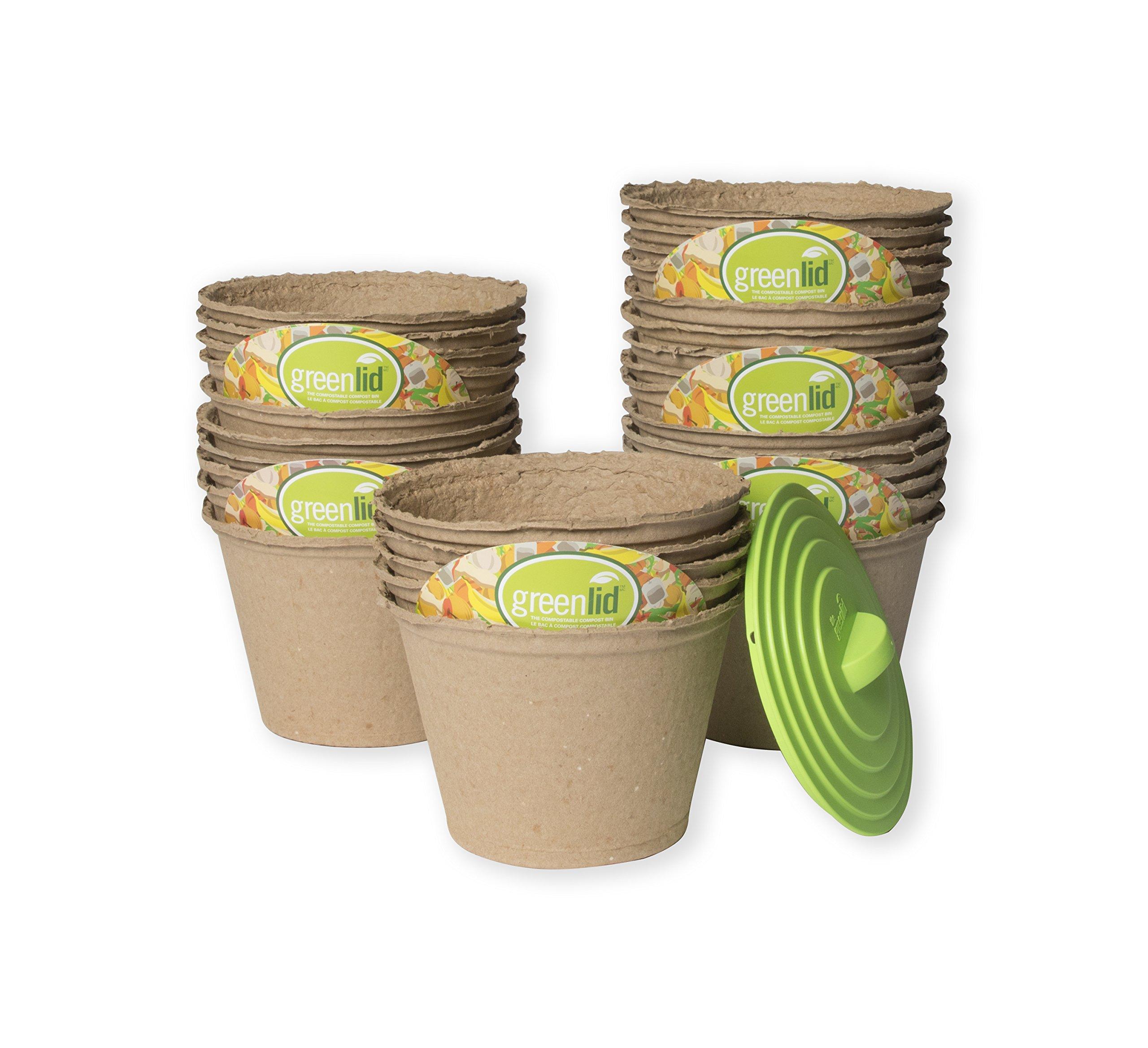 Greenlid Compostable Compost Bin - Starter Kit (30 Pack + Reusable Greenlid)