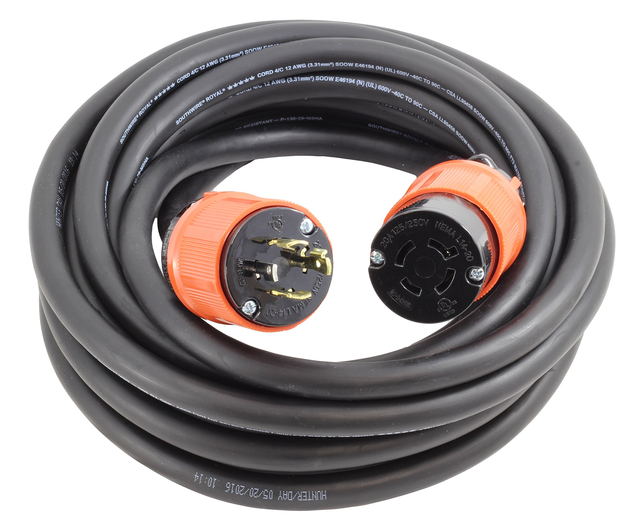 AC WORKS NEMA L14-20 Rubber SOOW 12/4 Extension Cord (25FT)