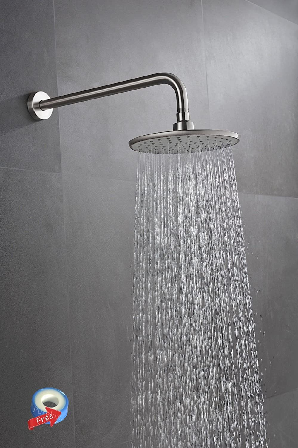 Purelux 8 Inch Modern Style Rainfall Fixed Mount Shower Head Set With 16  Inch Extra Long Stainless Steel Shower Arm, Brushed Nickel Finish 5 YEAR  WARRANTY ...