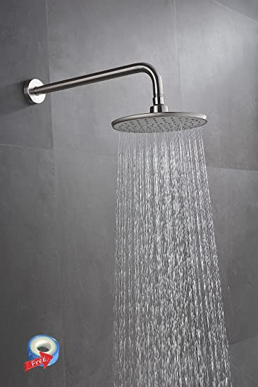 Purelux 8 Inch Modern Style Rainfall Fixed Mount Shower Head Set With 16  Inch Extra Long