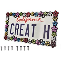 creathome 3D Shining Daisy Wrenth License Plate Frame from Pure Zinc Alloy Metal Perfect Plate Holder, Matt Black with…