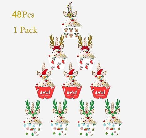 Sayala 48 unids Navidad Toppers & Envolturas de Magdalena con Diseño Navideño - Papel Molde Muffin