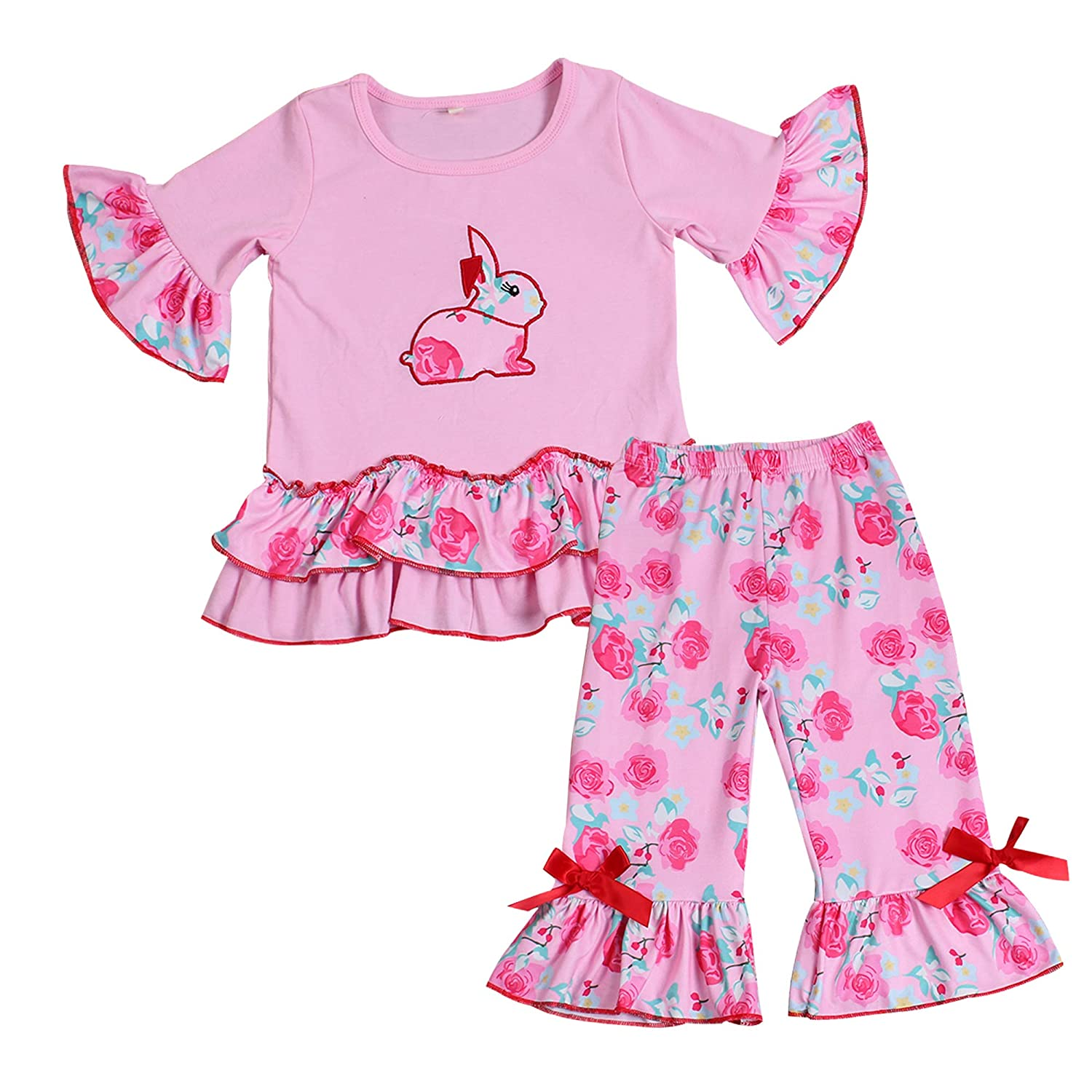 Easter Clothing Baby Girls Playwear Set with Embroidery Bunny Rabbit Ruffle Capris Set