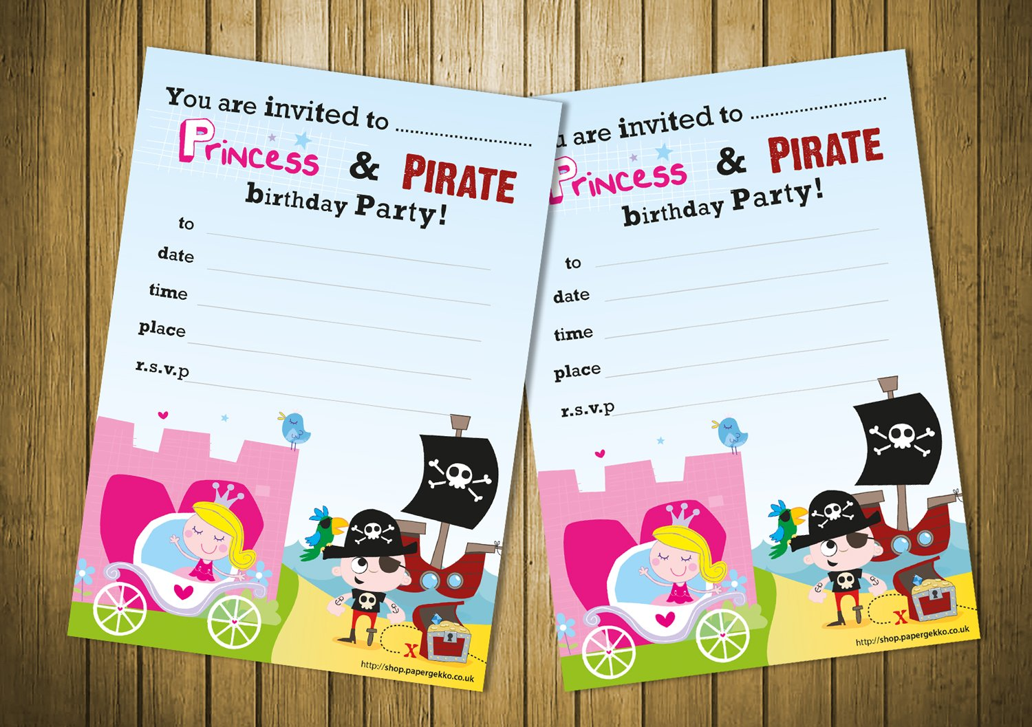 Premium 20 Children's Birthday Party Invitations Princess and Pirate Party Boys girls party invites Paper Gekko