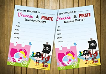 20 childrens birthday party invitations princess and pirate party 20 childrens birthday party invitations princess and pirate party filmwisefo Choice Image