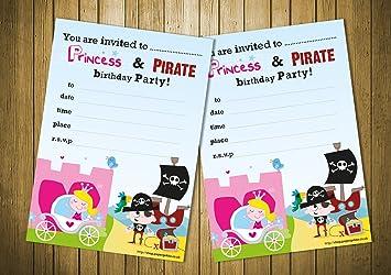 Premium 20 childrens birthday party invitations princess and pirate premium 20 childrens birthday party invitations princess and pirate party boys girls party invites filmwisefo