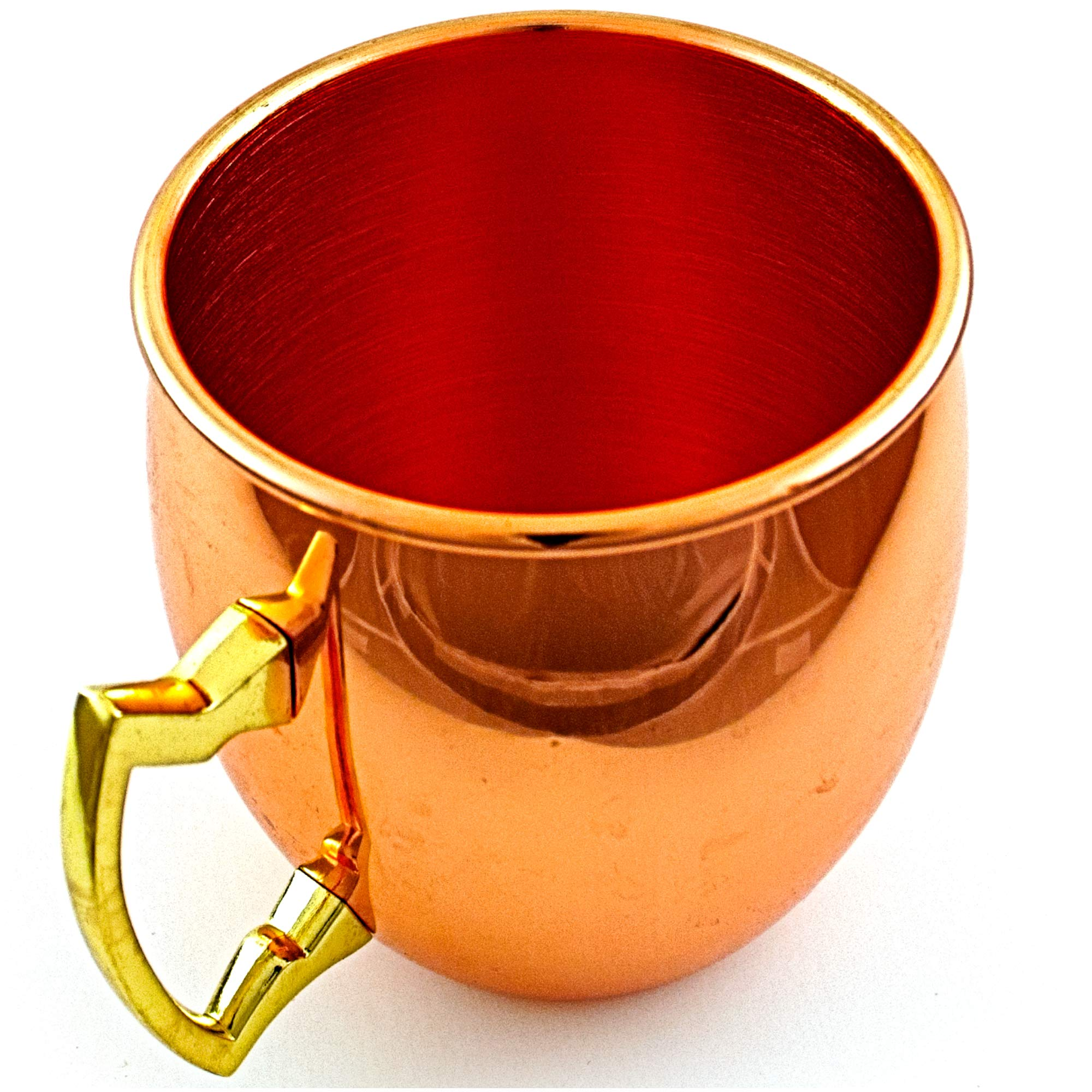 Moscow Mule Copper Mug by Small Old City FoodSafe Pure Solid Coffee Mug - 16 oz Capacity - Smooth Exterior - No Tin or Nickel Lining - Welded Handle - Ideal for Warm & Cold Beverages