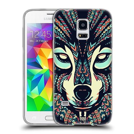 7 opinioni per Head Case Designs Lupo Facce Di Animali Aztechi Back Case Cover in Silicone per