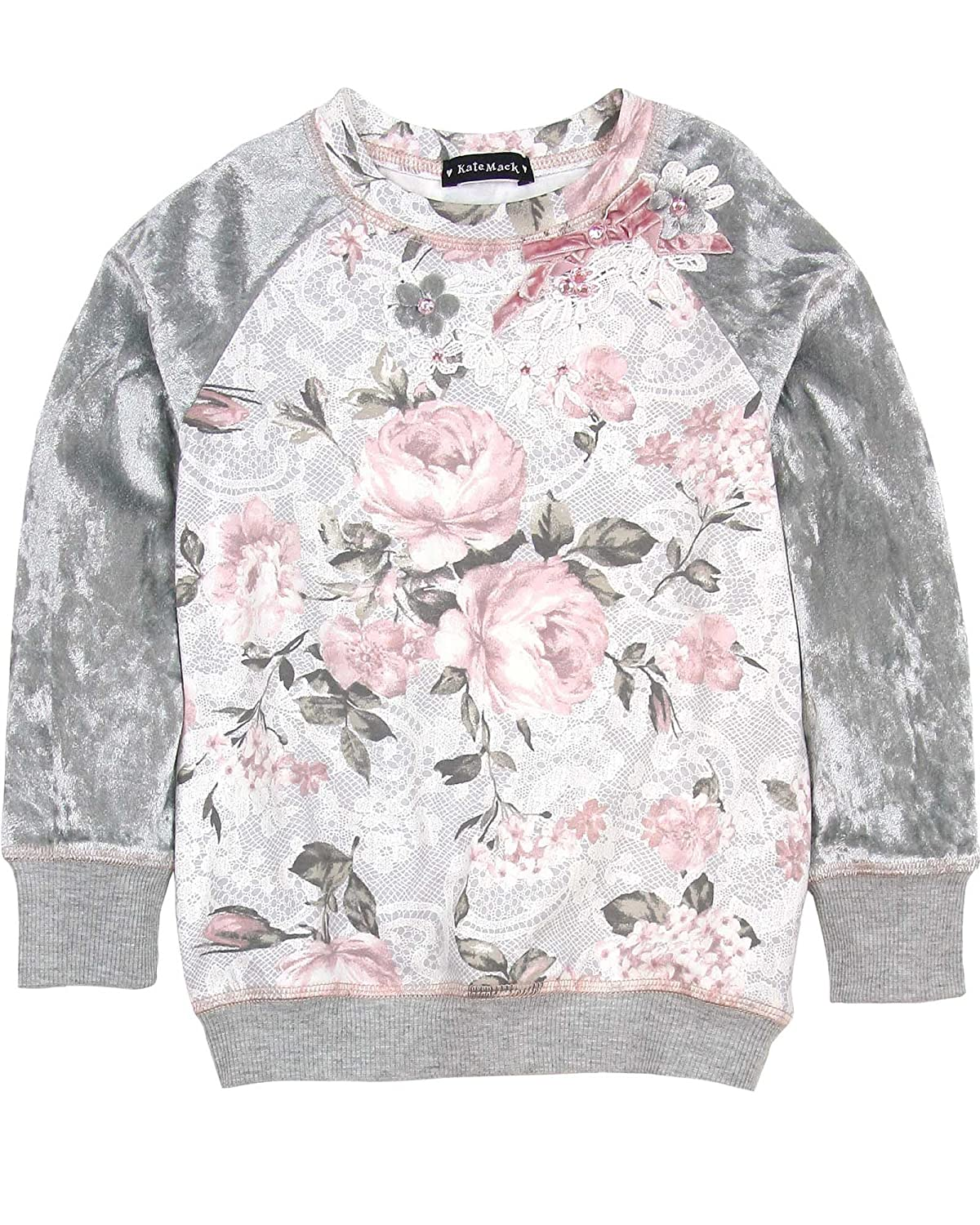 Kate Mack Girls' Rose Sweatshirt, Sizes 4-16 Sizes 4-16 - 5