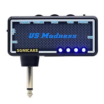SONICAKE Amphonix US Madness Vintage Bass USB Auriculares Recargables para Auriculares con Amplificador de Guitarra w